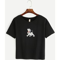 Black Dog Print T-shirt ($14) ❤ liked on Polyvore featuring tops, t-shirts, stretch t shirt, polyester t shirts, dog tees, short sleeve tops and round neck t shirts