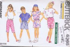 "6365 Butterick Pattern Girls Pants Top Size 7-10 Bust 26-28.5 Hip 27-30"" UNCUT"