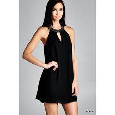 JODIFL Stud Neckline Halter Dress ($33) ❤ liked on Polyvore featuring dresses, black, see through dress, black keyhole dress, black studded dress, halterneck dress and black halter neck dress