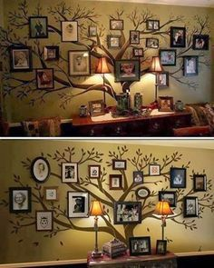 Living room family tree - I like seeing the different frames, I would keep them all one color, but different sizes and shapes.