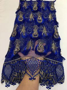 African Lace Fabric Royal Blue French Tulle Lace Fabric Edge Cord Lace With Beads 5 Yards Per Lot Wedding Dress French Lace 30 Black Lace Fabric, Beaded Lace Fabric, Tulle Lace, African Lace, African Wear, African Fabric, African Print Dresses, African Fashion Dresses, African Clothes