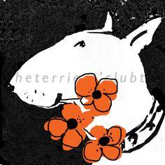 Bull Terrier Giclée Print Ink Drawing Cartoon by TheTerriersClub