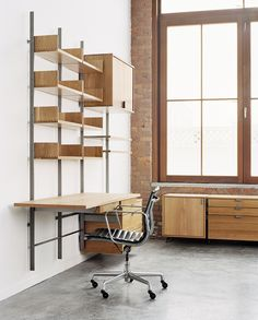 modular furniture system desk configuration in solid white oak & cold-rolled steel photograph by: Meredith Heuer Cheap Furniture, Furniture Plans, Furniture Websites, Wooden Furniture, Entryway Furniture, Furniture Nyc, Inexpensive Furniture, Furniture Removal, Furniture Movers