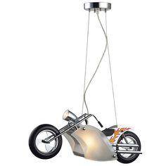 Elk Lighting Wild Ride Motorcycle 3-Light Satin Nickel and Polished Pendant