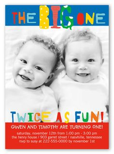 Twice as fun twins 1st birthday invitations baby related things big bright one twin birthday party invitations filmwisefo