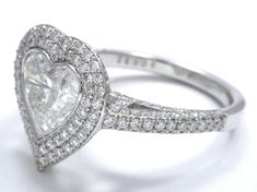 Large Heart Shape Diamond Double Halo Engagement Ring  - ES1151HS