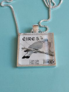 Irish Stamp Woodpigeon Necklace by joytoyou41 on Etsy, $25.00