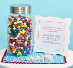 """Kids' Vintage-Inspired Gumball Birthday Party """"Bubble gum, bubble gum, in a dish. How many gumballs do you wish?"""" Guess the amount, too cute! Birthday Party Games For Kids, Carnival Birthday Parties, Birthday Fun, Birthday Ideas, Gumball, Bubble Gum Party, Bubble Wands, Vintage Inspiriert, Fiestas"""