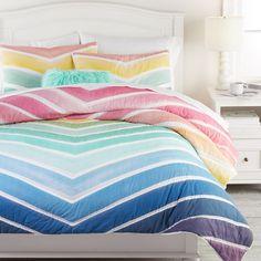 Chevron Bedding, Chevron Quilt, Rainbow Chevron, Rainbow Room, Rainbow Girls Bedroom, Rainbow Sky, White Rainbow, Organic Duvet Covers, Mattress Pad