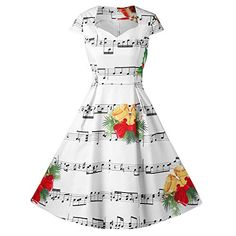59682ab0dec0 Howley Dress Women Merry Christmas Bell Music Note Print Ball Gown Hepburn  Skirt V-Neck
