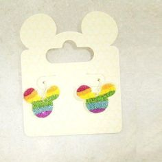DISNEY MICKEY MOUSE CRYSTAL RAINBOW EARRINGS, GIFT-BOXED