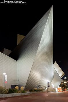 The Denver Art Museum at Night (via www.pinterest.com/AnkApin/public-b-commercial)