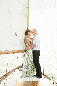 Alison + Ryan's vintage sailboat engagement session   Photography: Katie Lopez Photography