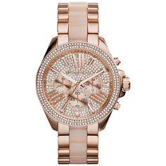 Michael Kors Women's MK6096 'Wren' Chronograph Crystal Rose Tone Watch