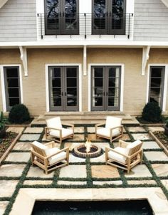 backyard idea: pavers (but on the diagonal) firepit in a corner would be fun for the evenings...audrey will make you smores ;)