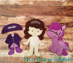Sofia the First and Minimus Inspired - reinvented Paper Doll - Felt Doll - Quiet Play - Pretend Play Dress Up - 5x7 Doll