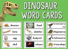 The newest set of picture-word cards for the Picture Word Cards collection is the much-requested dinosaurs set! There are actually two sets. One set has 12 dinosaur cards with their looong names and pictures. The other set has a variety of words related to dinosaurs (egg, bone, claw, volcano, etc.) which are shorter and probably easier for prekinder kids. However, you may have some young paleontologists in your class who will want to write (or