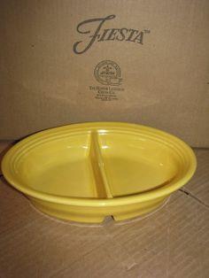 Fiesta Fiestaware Divided Oval Vegetable Bowl - Sunflower Yellow - New