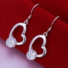 Pendientes Corazon Crystal zirconia con Plata 925
