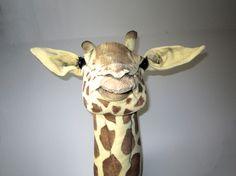 Faux+taxidermy+giraffe.+Vegetarian+safari+trophy.+Fabric+animal+head. £345.00