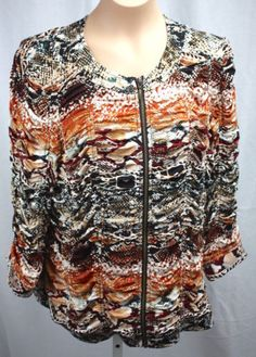 Chicos-Womens-Zip-Front-Snake-Animal-Print-Long-Sleeve-Ruche-Cardigan