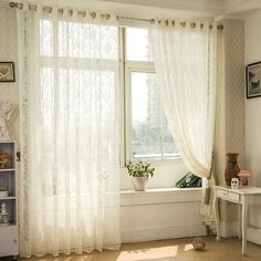 2 Panel White Europe Jacquard Breathable Voile Sheer Curtains Bedroom Living Room Window Screening