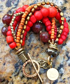 Antique Red Shimmer Glass, Bronze Pearl and African Brass Bracelet $150