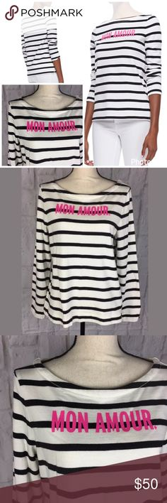 Kate Spade NY Roanne Striped Mon Amour Sweater Kate Spade cotton boat neck pullover. Size XL. In excellent gently used condition. kate spade Sweaters