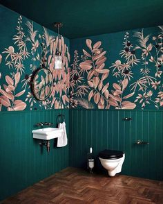 Totally loving this emerald green and blush pink bathroom and with bathroom wallpaper like this, who wouldn't? Eclectic Bathroom, Bathroom Styling, Industrial Bathroom, Bathroom Plants, Bathroom Faucets, White Bathroom, Small Bathroom, Bathroom Wallpaper Green, Wallpaper Toilet