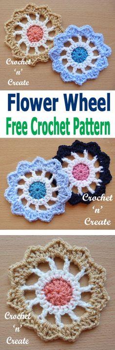 Crochet flower wheel a free crochet pattern from #crochetncreate add to bags, clothing, cushion covers etc. #freecrochetpatterns #crochetapplique #crochetmotifs