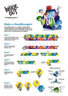 Put your skills to the emotional test!  Follow this guide to make an INSIDE OUT hexaflexagon.  #InsideOut