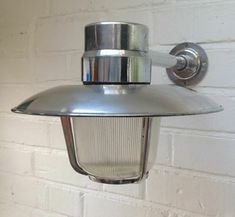 Salvaged GDR Aluminium Ships Passage Light With Arm aluminium shade ribbed glass