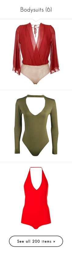 """Bodysuits (6)"" by adorablequeen ❤ liked on Polyvore featuring intimates, shapewear, red, brown, bodysuit, dance, onepiece, royal blue, light grey and black"
