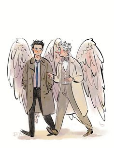 Not my art! Trying to find the artist if you know them please tell Supernatural Fans, Supernatural Crossover, Castiel, Decimo Doctor, Good Omens Book, Fandom Crossover, Fandoms, Angels And Demons, Crowley