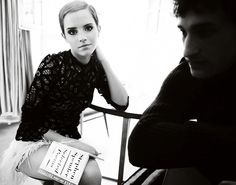 Love Emma Watson here, the lace, the short hair, dark eyes and feather skirt!