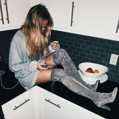 grey on grey. monotone. gray. over the knee boots. suede. oversized sweater dress. kitchen. trends. trend. fashion. 2016. latest.