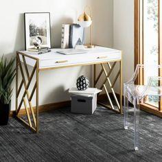 Safavieh Elaine White/ Gold Desk - Home Office Furniture Home Office Desks, Home Office Furniture, Office Decor, Office Ideas, Home Office White Desk, Gold Furniture, Office Table, Small Office, Bedroom Furniture