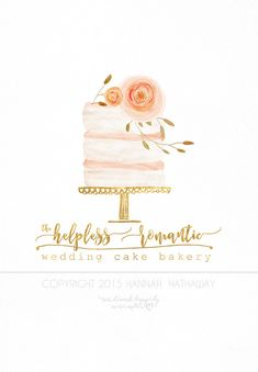 Vintage Naked Wedding Cake Logo - Watercolor Painted Premade Boho Business Logo (Item #140BK)