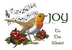 Joy to the World Clip Art   Clip Art Christmas JOY To The World, Carol With English Robin Bird And ...