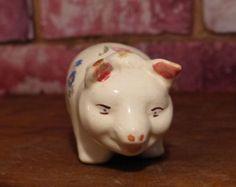 SWEET FACED VINTAGE PIG Antique Pottery, Blue Mountain, Vintage Ceramic, 1940s, Mid Century, Piggy Banks, Ceramics, Antiques, Etsy