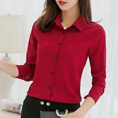 BIBOYAMALL White Blouse Women Chiffon Office Career Shirts Tops Fashion  Casual Long Sleeve Blouses Femme Blusa 849ee0640855