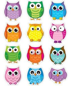 Carson Dellosa Education Colorful Owls Shape Stickers - These Owl Die-cut Are Acid Free And Lignin Free. Includes 72 In 12 Assorted Colors Shapes. Owl Crafts, Crafts For Kids, Paper Crafts, Owl Theme Classroom, Classroom Teacher, Kindergarten Classroom, Classroom Ideas, Owl Templates, Applique Templates
