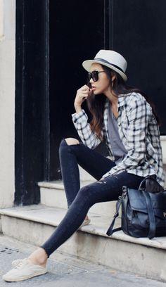 Plaid, skinnies & panama hat