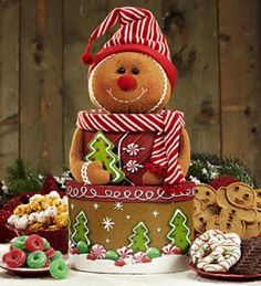 gift boxes to look like gingerbread man Gingerbread Crafts, Gingerbread Decorations, Christmas Gingerbread, Christmas Decorations, Christmas Ornaments, Gingerbread Houses, Christmas Sweets, All Things Christmas, Christmas Kitchen