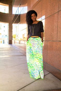 We love the look of a printed maxi and a comfy sweater!