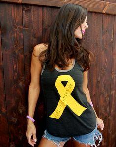 Gold Ribbon Kids Get Cancer Too. Racerback Heathered Tank. Benefitting the Ronan Thompson Foundation.