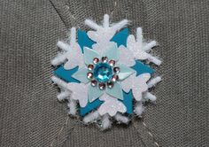 """Frozen Inspired Elsa Winter Snowflake Hairclips. Medium Snow Flake Hair Clips for Shoes, Hair, Wigs, or Clothes. 2"""" White and Turquoise."""