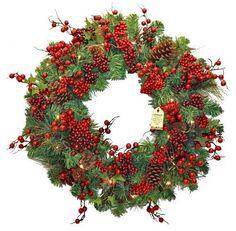 60cm Pre-Lit Christmas Door Wreath Hanging Xmas Battery Operated Berry Decor New #SmartDealsMarket