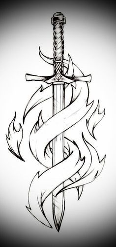 Sword and flames – Schwert und Flammen # 1 – Dark Art Drawings, Art Drawings Sketches Simple, Pencil Art Drawings, Tattoo Sketches, Easy Drawings, Tattoo Drawings, Drawing Ideas, Sword Drawings, Kunst Tattoos