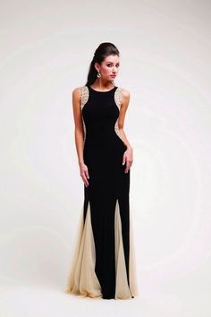 Prom Dresses | CINJC2253BLKNU BLACK NUDE Beaded Strapped Long Sexy Prom Dresses & Winter Formal Dresses | 2015 Promlook Dresses (Official)